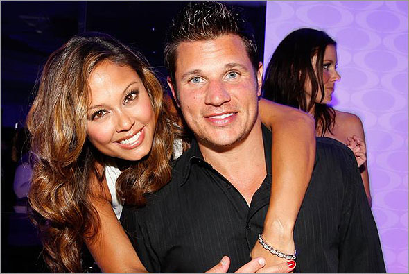 TV personality Vanessa Minnillo and singer/TV personality Nick Lachey at a ...