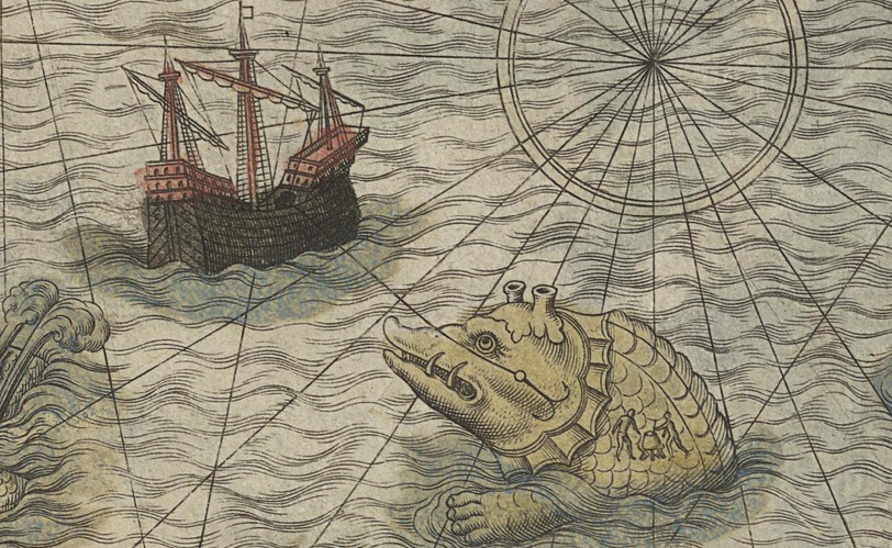 Fig. 67 Olaus Magnus 1572 hand colored National Library Sweden - whale island Brendan.jpg