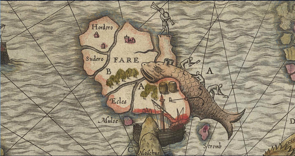 Fig. 68 Olaus Magnus 1572 hand colored National Library Sweden - whale flensing.jpg
