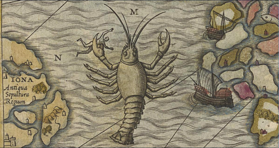 Fig. 73 Olaus Magnus 1572 hand colored National Library Sweden - octopus lobster dangers.jpg
