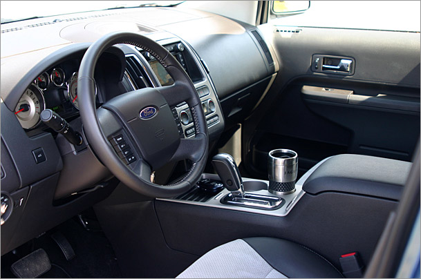 2009-Ford-Edge-Sport-interior.jpg. At first glance the interior looks drab,