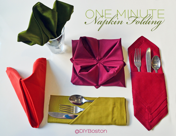 One-Minute Napkin Folding by DIY Boston