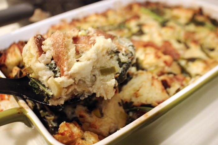 Blue Cheese Bread Pudding With Apples Kale Amp Leeks Chow