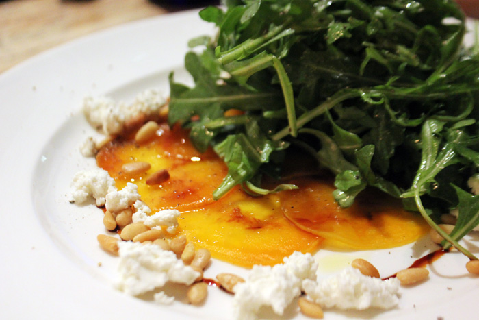 ... Beet Carpaccio - Sherry Gastrique, goat cheese, pine nuts, arugula