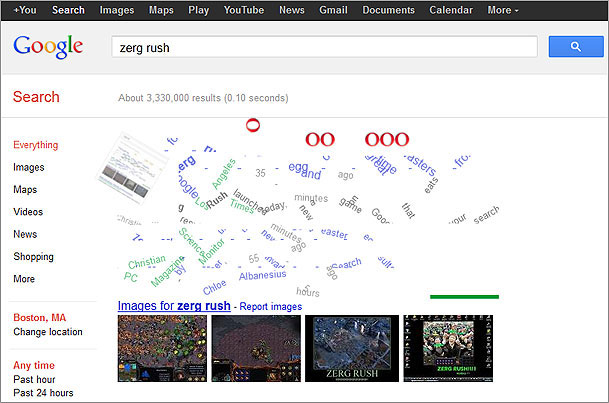 what a zerg rush google offers game play for special search term