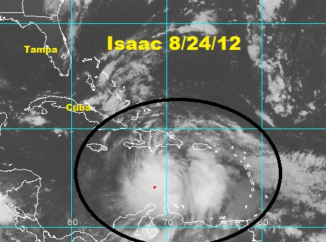 Tropical storm Isaac a bit stronger