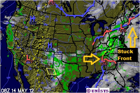 Stationary Front On A Weather Map.Several Unsettled Days Ahead But Great Weekend Weather Wisdom