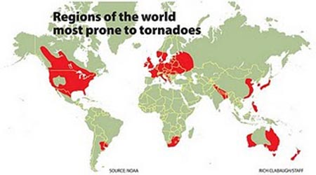 World Map Of Tornadoes ~ AFP CV
