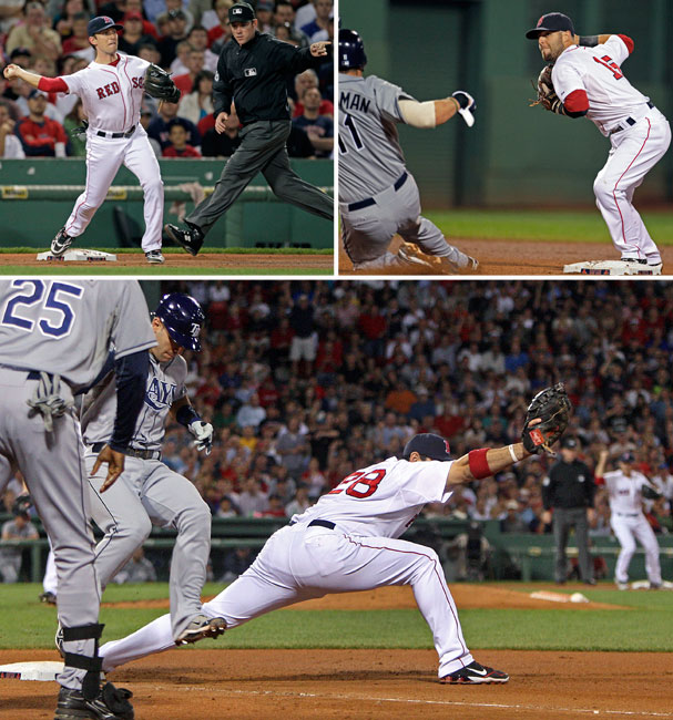 Red Sox turn a triple play: http://www.boston.com/sports/baseball/redsox/extras/extra_bases/2011/08/sox_turn_triple.html