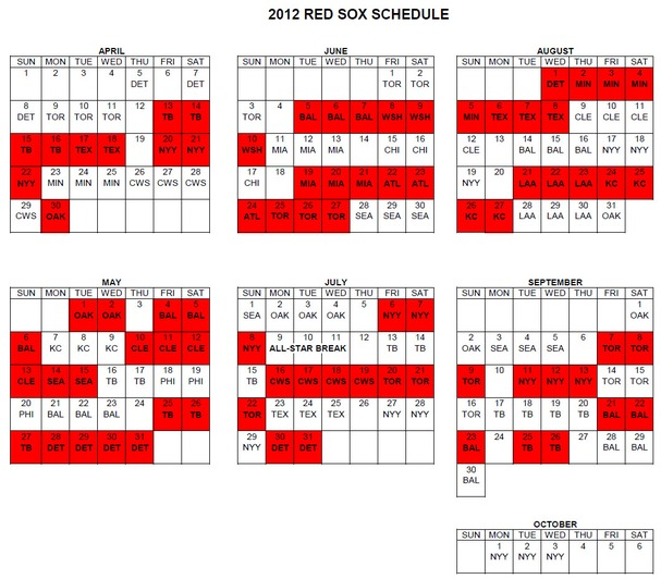 Red Sox Printable Schedule 2016 | Calendar Template 2016