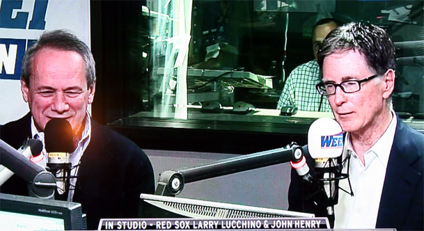 NESN screen image of John Henry and Larry Lucchio on WEEI. Oct., 7, 2011
