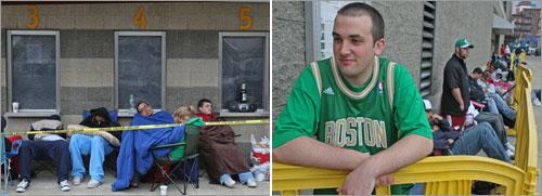 Fans line up for Celtics tickets