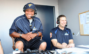 Josh and Reggie Jackson laughing in booth 2013.JPG