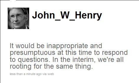 John Henry's tweet