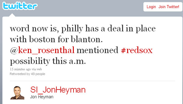 Red Sox have deal in place to acquire Joe Blanton according to Jon Heyman of SI.com