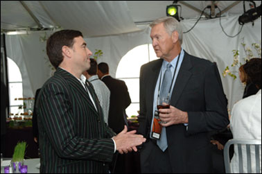 Jerry West, President of Basketball Operations for the Memphis Grizzlies speaks to Wyc Grousbeck, Managing Partner, Governor and Chief Executive Officer of the Boston Celtics prior to the 2007 NBA Draft Lottery on May 22, 2007 at outside the NBATV Studios in Secaucus, New Jersey.
