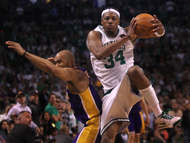 500c6b29f340 Paul Pierce did his best impersonation of Randy Moss and then mimicked Tom  Brady in one of the more spectacular plays of Game 5. (Barry Chin Globe  Staff)