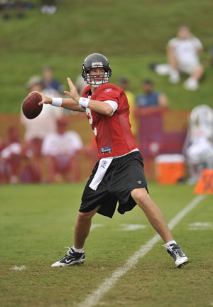 Falcons quarterback Matt Ryan attempts a pass during NFL football training camp against the New England Patriots in Flowery Branch, Ga., Tuesday, Aug. 17, 2010.