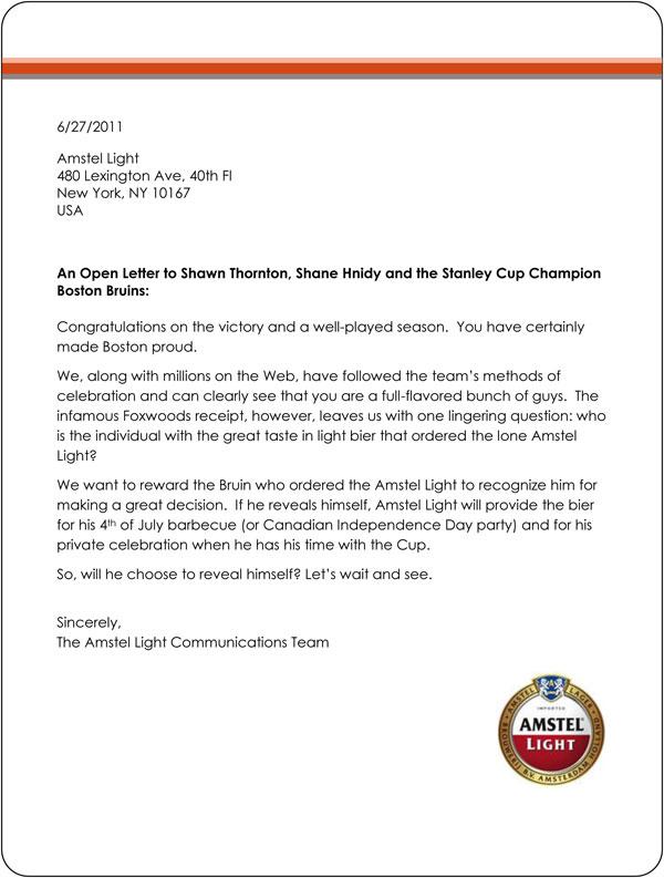 Amstel Light letter