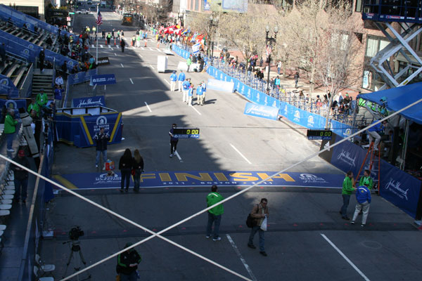 Boston Marathon finish line at 9:15 a.m.