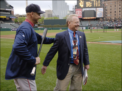 Red Sox manager Terry Francona and Gary Thorne share a laugh before Thursday's game.