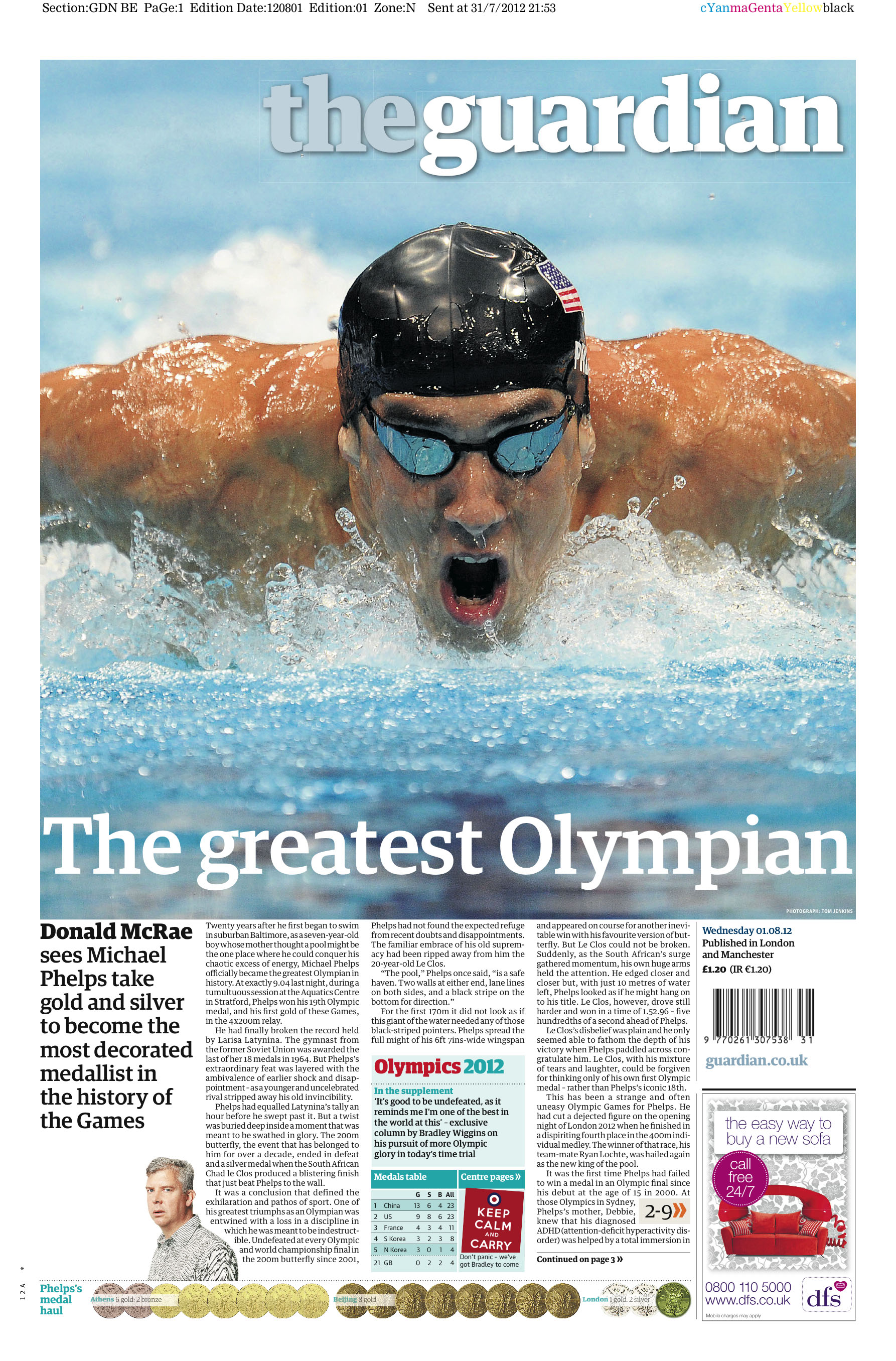 Olympic Medals 11th August Phelpsguardian