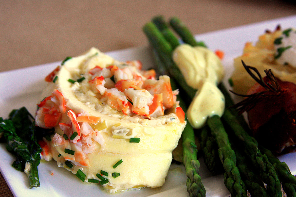 egg roulade with lobster closeup.JPG