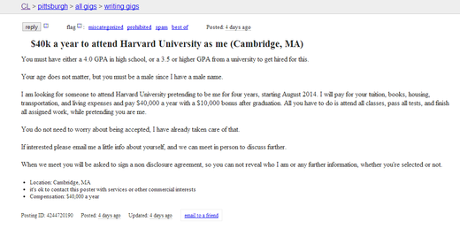 Craigslist ad claims to be from incoming Harvard student